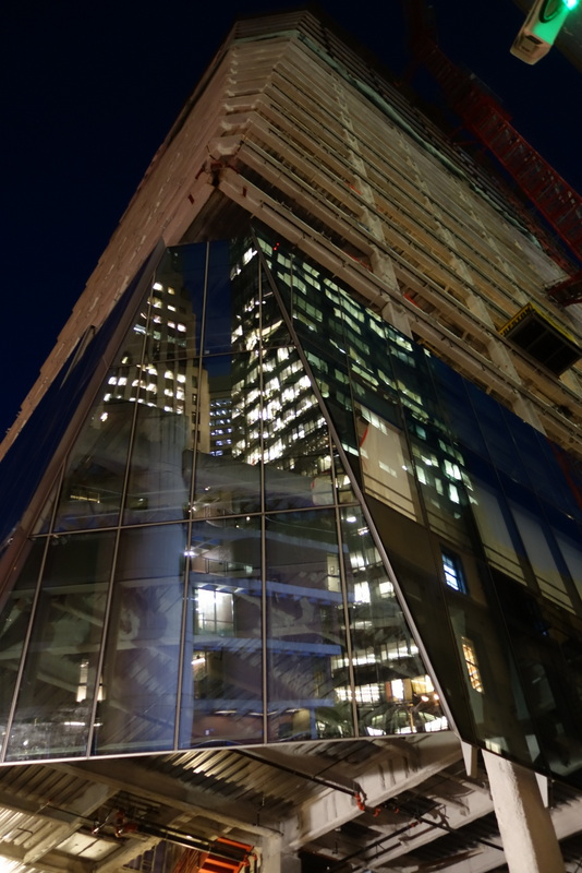 Glass cladding being added to 535 Mission