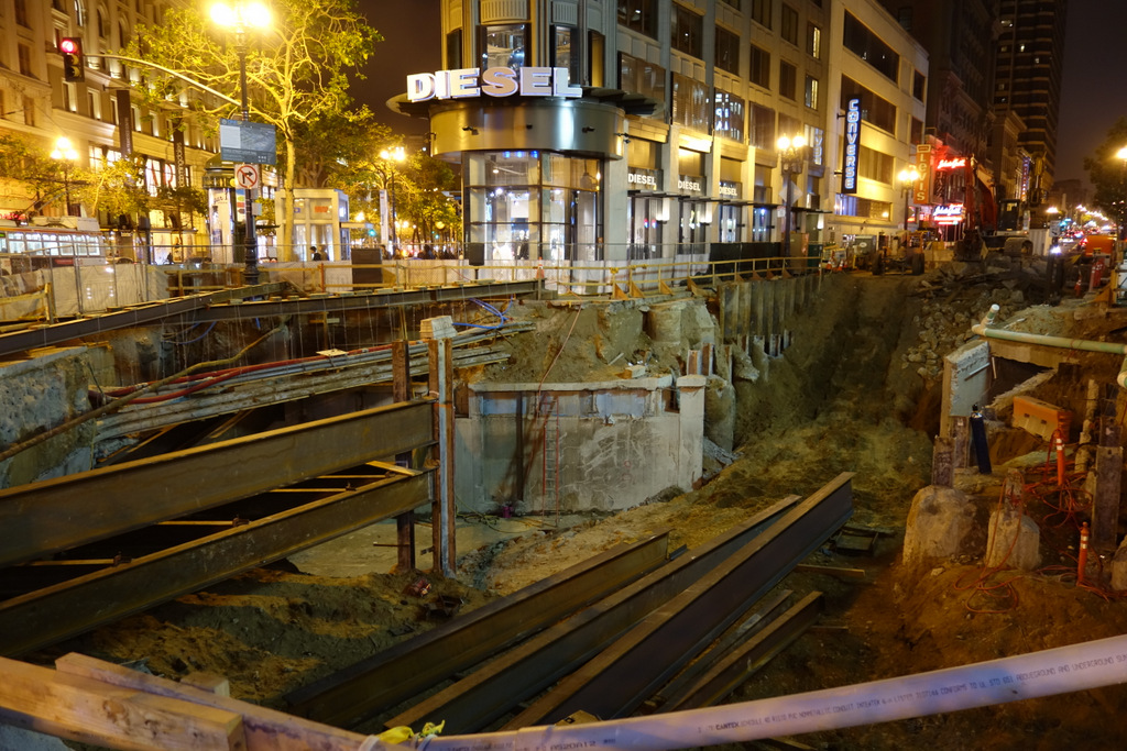 Open Trench At Future Union Square Station